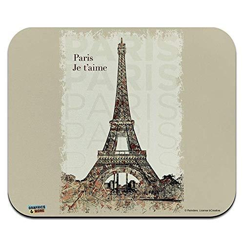 Paris, Je T'Aime I Love You Eiffel Tower City Map Low Profile Thin Mouse Pad Mousepad 9.8x11.8 inch