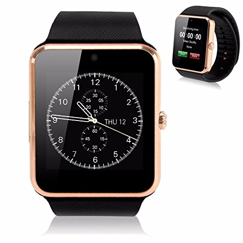 Soyan GT08 Bluetooth Smart Watch GSM Quadband Wrist Watch Phone with SIM Card Slot and NFC for Android Samsung HTC LG(Full Functions) IOS iPhone 55s6plus(Partial functions) (Gold)