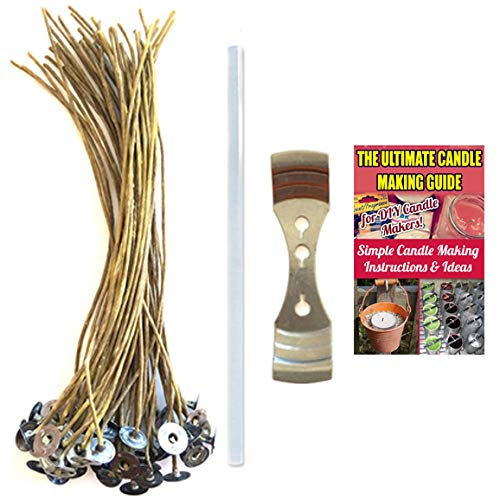3.5 //9cm Long Candle Making Juland 100 Pieces Candle Wicks Pre-Waxed Natural Cotton Core Low Smoke Design with Candle Wick Centering Device for Candles DIY