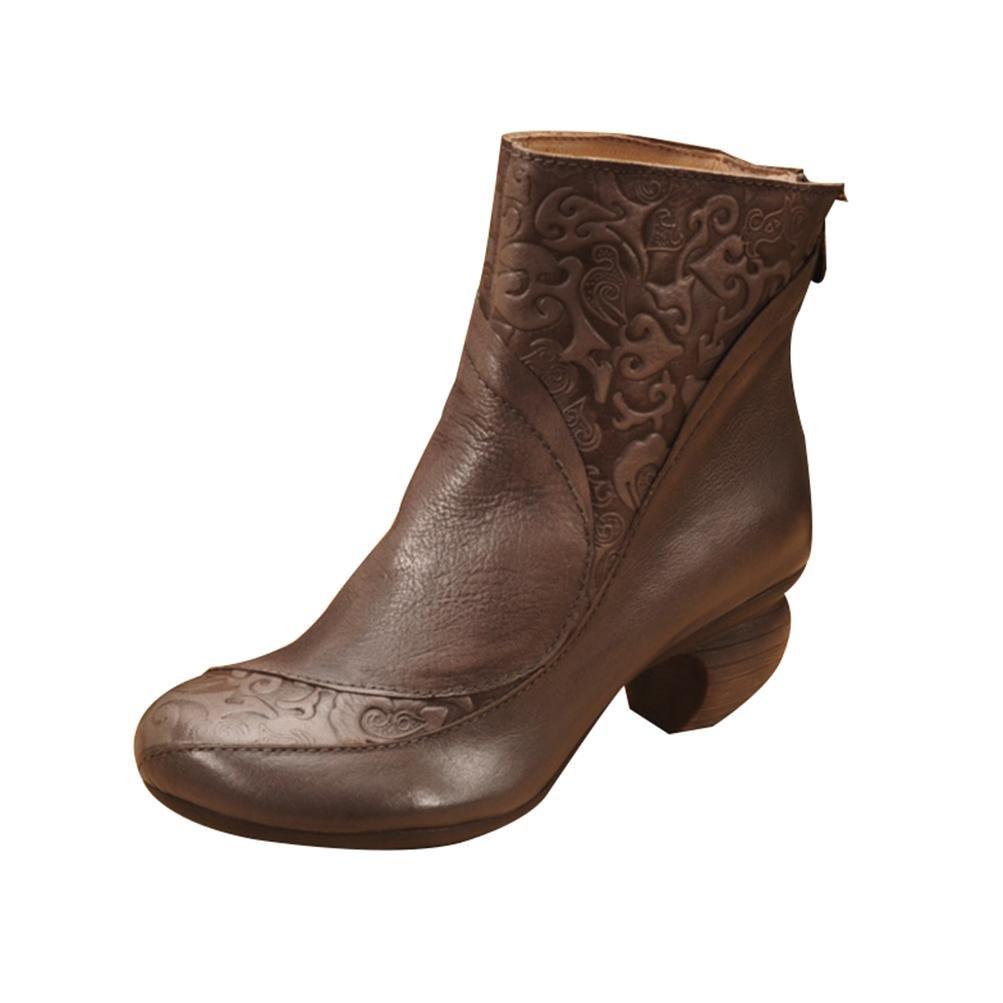 QPYC Damen Römischen Stiefel Stiefel Retro Shu Geeignet Echtem Leder Einfachen Seitlichem Reißverschluss Raue Ferse Schuhe