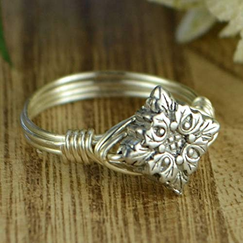- Leaves Sterling Silver and Pewter Bead Wire Wrapped Ring- Custom made to size 4-14