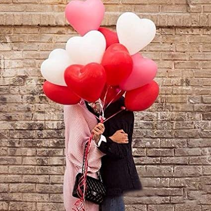 2dbe075a6e57f PuTwo Balloons 12 Inch 50 Pcs Red   White Latex Balloons with Heart Printed  for Hen Party Birthday Party Baby Shower or Wedding Decorations   Amazon.co.uk  ...
