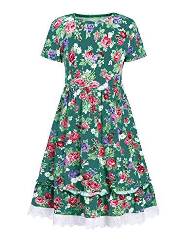 Balasha Girls Summer Floral Dress Swing Short Sleeve Casual Dresses Green, 140(for 9-10 -