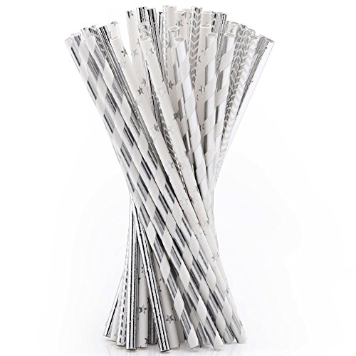 Wedding Party Paper Straw For Birthday Drinking Decorations Parties (Silver)