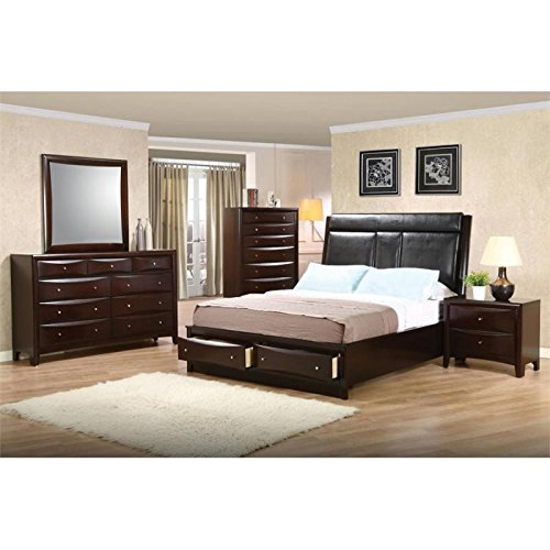 (Coaster Home Furnishings 5-Pc Wooden Bedroom Set in Deep Cappuccino (Cal King Bed) )