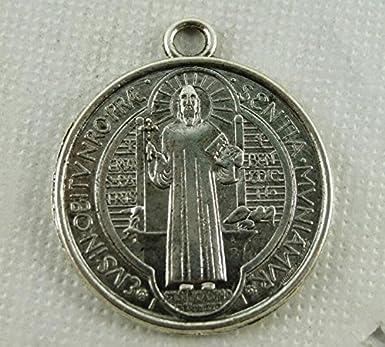 Medalla Cruz CXLD San Benito (Plata antigua): Amazon.es: Ropa y accesorios