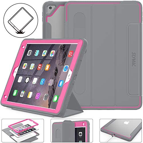 SEYMAC Inventory iPad sixth/fifth Era Case, Three Layer Good Magnetic Auto Sleep/Wake Cowl with [Clear Back] and [Screen Protector] Stand Characteristic for iPad 2017/2018 /Air 2/Professional 9.7 inch (Grey/Rose)