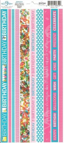 Birthday Photo Banner Ribbon Border Cardstock Scrapbook Stickers (Cloud 9 Design Photo Banner)