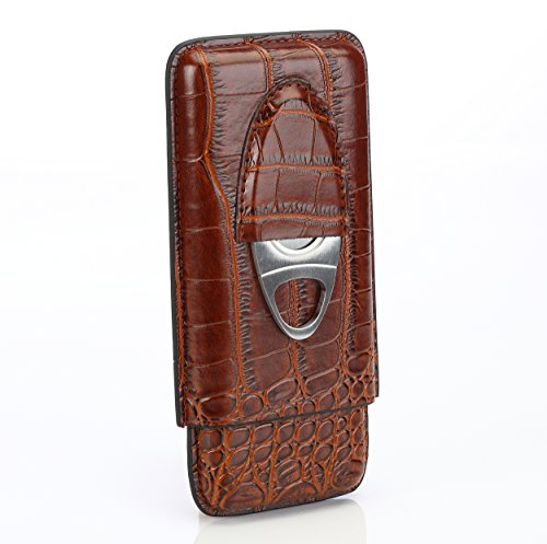 Brown Leather Cigar Case Holder for 3 Cigars with Cutter Set – Perfect Size for Shirt Pockets Golf Cart or (Gurkha Humidor)