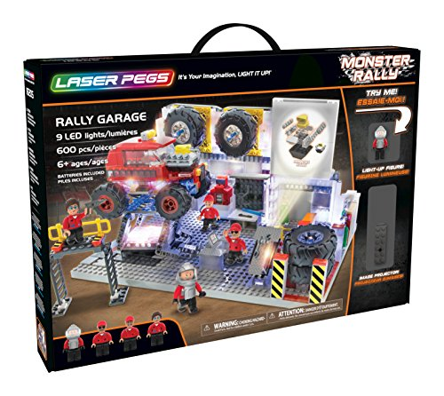 Laser Pegs Rally Garage Light-Up Building Block Playset (600 Piece) The First Lighted Construction Toy to Ignite Your Child's Creativity; It's Your Imagination, Light It Up