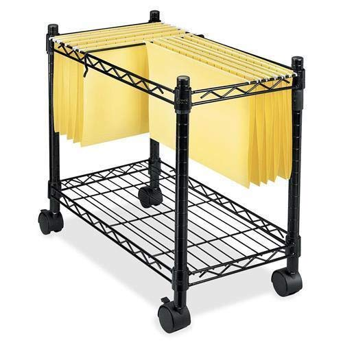 - Zipperl Mobile File Cart Wire Metal Rolling Letter Legal 1-Tier File Carts Compact Swivel File Storage Organizer Shelf - Black