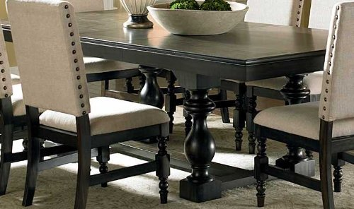 Amazon.com   Steve Silver Company Leona Rectangular Dining Table With Leaf  In Dark Hand Rubbed   Tables