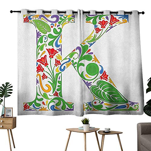 Mannwarehouse Letter K Heat Insulation Curtain Vivid Color Scheme Natural Inspirations Flowers Leaves Stalks Uppercase K Alphabet Set of Two Panels 55