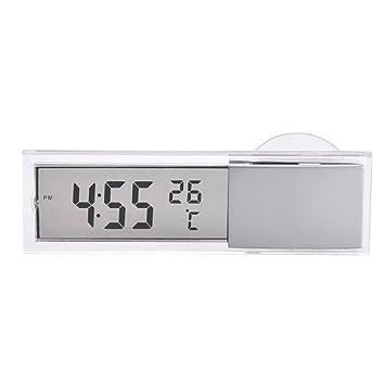 Amazon.es: brlige coche cristal Windows termómetro lcd termómetro coche tiempo reloj coche electrónico reloj reloj electrónico con Sucker