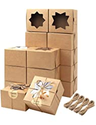 Moretoes 50pcs Brown Bakery Boxes with Window Cupcake Boxes 4x4x2.5 Inches Cookie Boxes Kraft Paper Gift Boxes for Pastries, Small Cakes