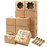 Moretoes 50pcs Brown Bakery Boxes with Window