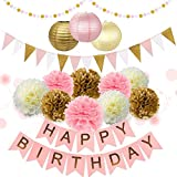 29PCs of Pink Gold and Cream Birthday Party Decorations Set Pom Pom Lanterns Polka Dot Triangle Garland Banner First 1st Birthday Girl Princess Theme Decorations Kit Party Supplies Backdrop