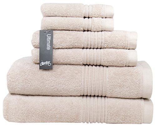 Chortex Zero Twist Cotton 6 Piece Towel Set, Set of 6, Barley