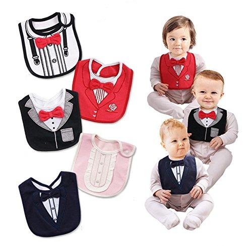 FANCYBIBS Baby Toddler Infant Boys Girls Drool Drooling Bibs Bowtie Tuxedo Bow Neck Tie Burp Cloths Unisex Pack