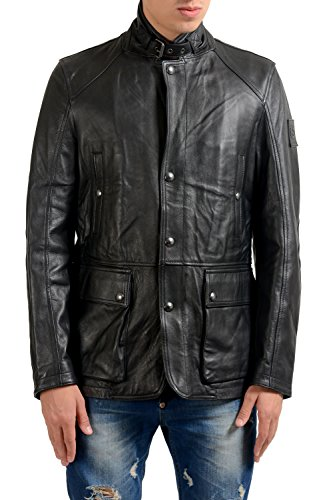 Belstaff Leather - Belstaff Men's 100% Leather Black Full Zip Jacket US S IT 48