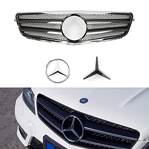 Vakabva Mercedes Benz Grill C Class Black Chrome Grille Front Grill CL Style Front Bumper Grille for 2008-2013 Mercedes Benz C Class W204 C200 C250 C300 C350