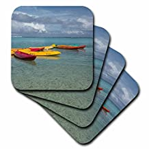 Danita Delimont - boats - Mariana Islands, Tamuning. Colorful boats along popular Ypao Beach - set of 4 Coasters - Soft (cst_228526_1)