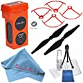 Autel Robotics 4900 mAh LiPo Flight Battery (Orange) + Autel Robotics Orange Propeller Guards for X-Star Quadcopter XSGDOR + Autel Robotics Propeller Set (Black) + Fibercloth Bundle