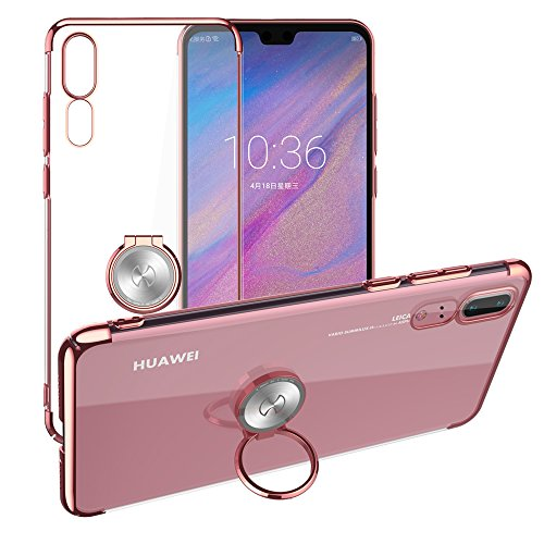 Huawei P20 Clear Case,XUNDD Phone Cover Crystal Case with Ring Holder Kickstand Function,Magnetic car Mount Holder, Grip Case Ultra Slim Thin Hard Cover for Huawei P20 Rose Gold (5.8inch)