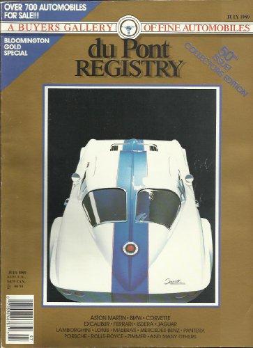 Dupont Registry Magazine JULY 1989 1963 CORVETTE SPLIT WINDOW COUPE!