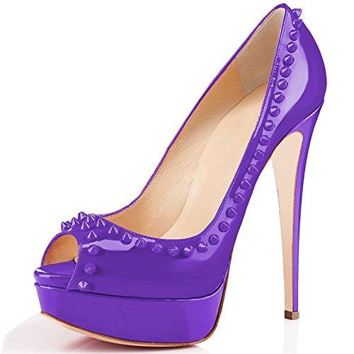 Arc-en-Ciel bombas de zapatos de tacón alto del dedo del pie del pío del cuero de patente del remache de las mujeres púrpura