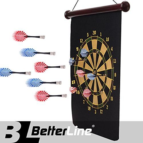 (BETTERLINE Magnetic Dart Board Game Set - 16.5 x 23 Inch (42 x 58cm) Roll-up Board with 6 Darts - Child & Furniture Safe Dartboard for Kids & Adults)