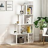 Tribesigns 5-Shelf Ladder Corner Bookshelf, Modern Simplism Style 63 '' H x 12 '' W x 40 ''L, Made Steel Wood Living Room Hallway (White.)