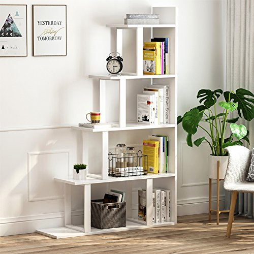 Tribesigns 5-Shelf Ladder Corner Bookshelf, Modern Simplism Style 63 '' H x 12 '' W x 40 ''L, Made of Steel and Wood, for Living Room or Hallway (White.)