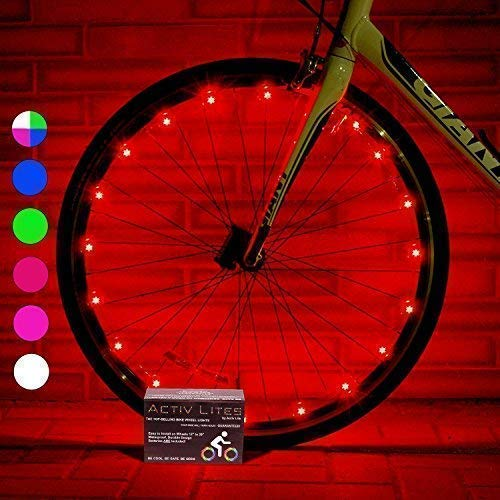 Activ Life Bicycle Tire Lights (2 Wheels, Red) Hot LED Bday Gift Ideas & Presents for Christmas - Popular Friday Black and Monday Cyber Special Sale for Him or Her - Men, Women, Kids & Fun Teens ()