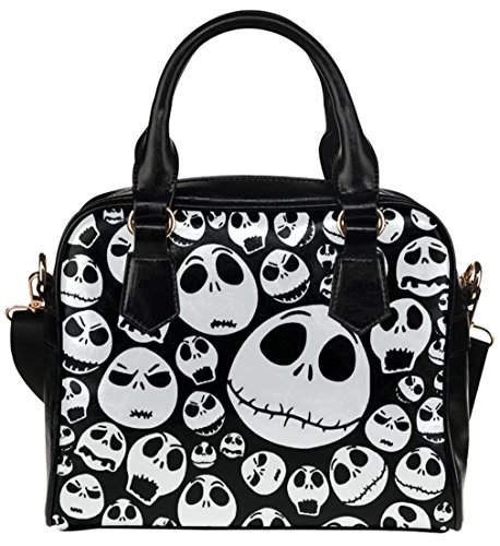 Fashionable Ladies Girl Shoulder Handbag Top-Handle Bags Shell Handbag with Jack Skellingtons Emoticon Face Pattern -
