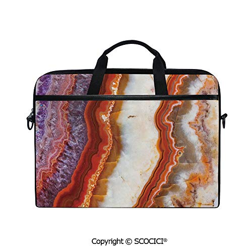 Personalized Laptop Bag 14-15 Inch Messenger Bag Gradient Macro Quartz Rock Surface with Natural Minerals Glazed Beauty Artsy Display Decorative Shoulder Sleeve Case Tablet Briefcase