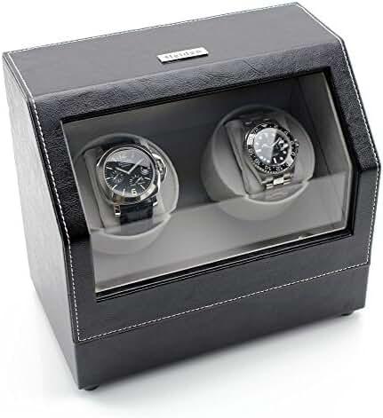 [ON SALE NOW] Heiden Battery Powered Double Watch Winder in Black Leather