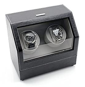 [ON SALE NOW] Heiden Battery Powered Double Watch Winder in Black Leather