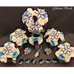 Wedding-Bridal-Bouquet-Purple-Blue-Ivory-Cream-15-PC-Set-BEADED-Lily-Package-with-Corsages-and-Boutonnieres