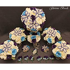 Wedding Bridal Bouquet Purple Blue Ivory Cream 15 PC Set BEADED Lily Package with Corsages and Boutonnieres 75