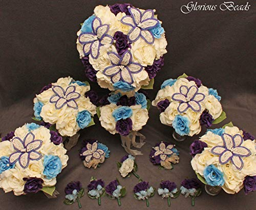 Wedding Bridal Bouquet Purple Blue Ivory Cream 15 PC Set BEADED Lily Package with Corsages and Boutonnieres