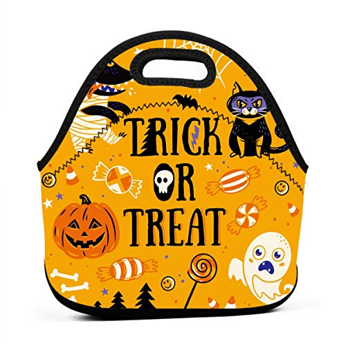 (Kids Lunch Box-Trick Or Treat Halloween Lunch Bags for Women-Mini Soft Lunch Tote Bag-Lightweight, Reusable Lunchbox for Work and)
