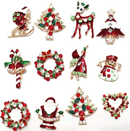 Holiday Christmas Pin (NEW Set of 12 Vintage Inspired Christmas Gold Brooch Lot/Holiday Brooch/Christmas Tree/Snowman/ Xmas Pin Lot/Party Favor/)