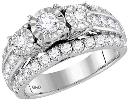 Bridal 14K White Gold 3 Stone Diamond Fanook Wedding Engagement Ring 2 CT (I1-I2 clarity; G-H color)