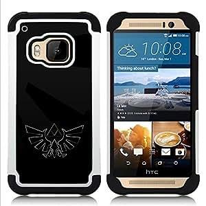 """HTC One M9 /M9s / One Hima - 3 en 1 impreso colorido de Altas Prestaciones PC Funda chaqueta Negro cubierta gel silicona suave (Oscura Águila Sigil"""")"""