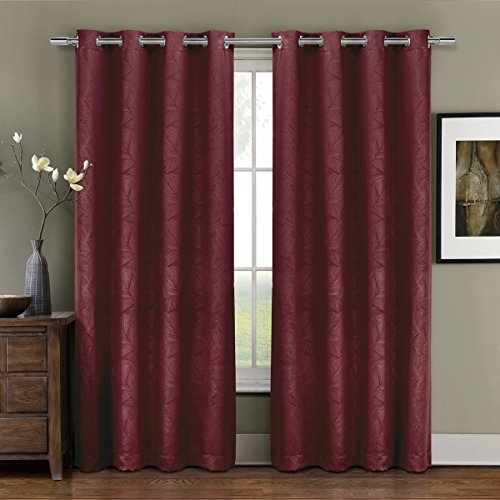 Prairie Burgundy Grommet Blackout Weave Embossed Window Curtains Drape, 52×96 inches Single Panel, by Royal Hotel For Sale