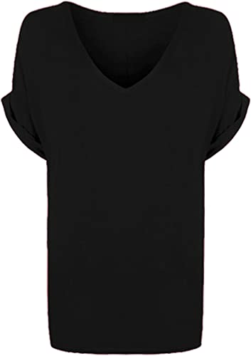 Blush Avenue® Womens Oversize Fit V Neck Top Ladies Baggy Plus Size Batwing Casual T Shirt sizes 8-24