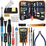 handskit Soldering Iron Kit, 18-in-1 Soldering Kit 60W 110V Adjustable Temperature Controlled Welding Tool with ON-OFF Switch, Digital Multimeter, 5pcs Interchangeable Iron Tips, Solder Sucker, Soldering Iron Stand, Solder Wire, Tweezer for Repairing Work [Upgraded]