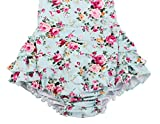 China Rose 50's Floral Ruffles Rompers Backless