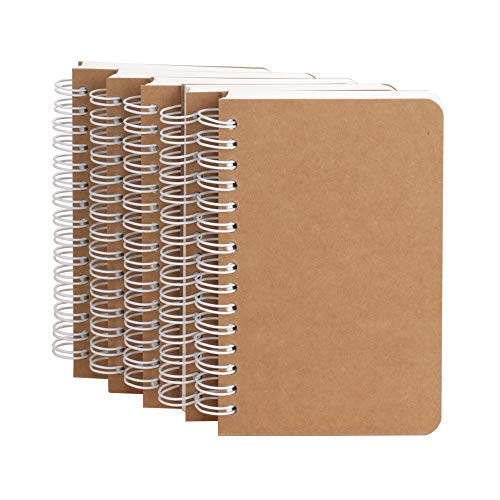 Kraft Cover Lay Flat Spiral Notebooks - Five Pack - A6 Sized - 180 Ruled Pages - 90 Sheets - Easy to -